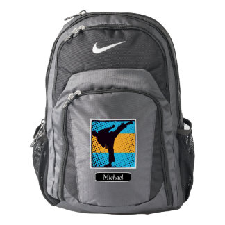 Blue Orange Abstract Kick Boxer Personalized Backpack