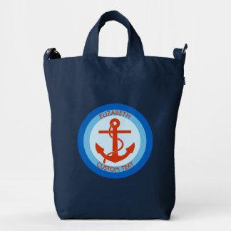 Blue Orange Anchor Sailor Duck Bag