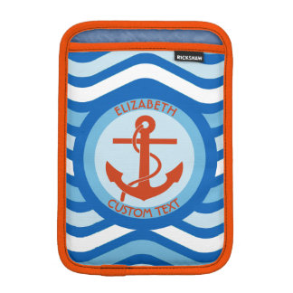 Blue Orange Anchor Sailor Sleeve For iPad Mini