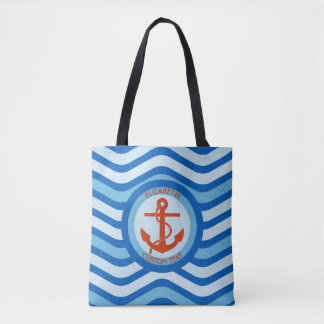 Blue Orange Anchor Sailor with your name Tote Bag