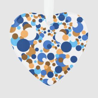 Blue, orange and brown confetti ornament
