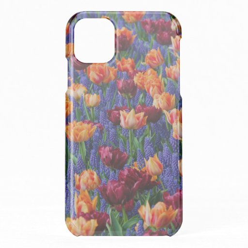 Blue, Orange and Red Flowers iPhone 11 Case