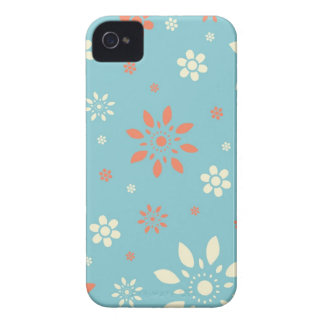 Blue Orange and White Flowers Pattern iPhone 4 Cases