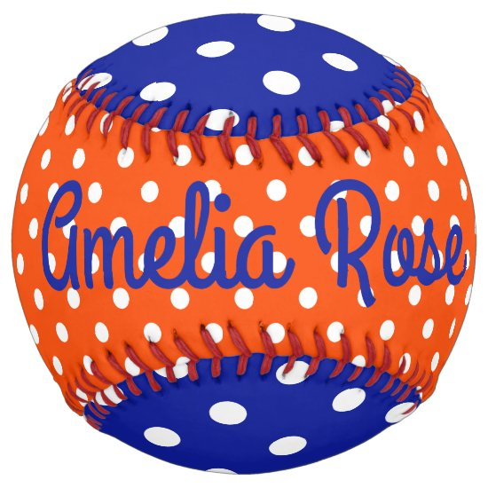 Blue Orange and White Polka Dot Personalized Softball