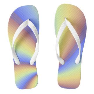 Blue, Orange and Yellow Pinwheel Design Flip Flops