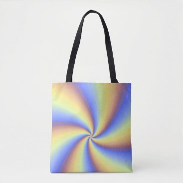 Beach Themed Blue, Orange and Yellow Pinwheel Design Tote