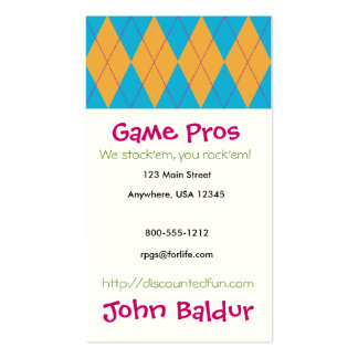 Blue & Orange Argyle Double-Sided Standard Business Cards (Pack Of 100)