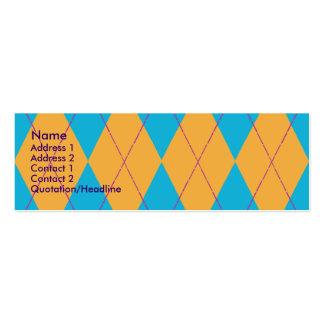 Blue & Orange Argyle Double-Sided Mini Business Cards (Pack Of 20)
