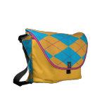 Blue & Orange Argyle Courier Bag