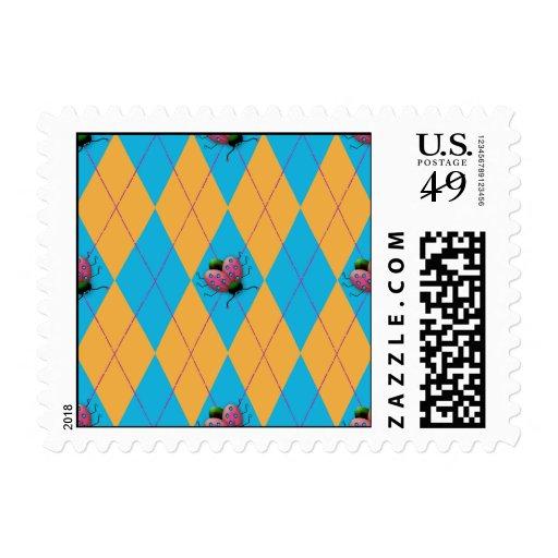 Blue & Orange Argyle Ladybug Postage Stamps