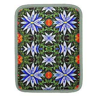 Blue Orange Artistic Flowers Design iPad Sleeve