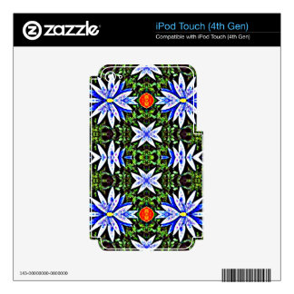 Blue Orange Artistic Flowers Design Decals For iPod Touch 4G