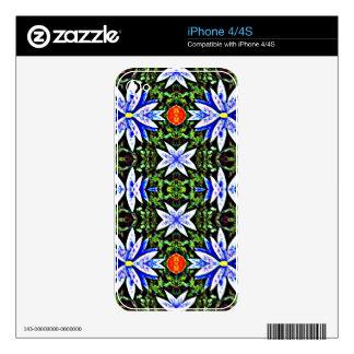 Blue Orange Artistic Flowers Design iPhone 4 Skins