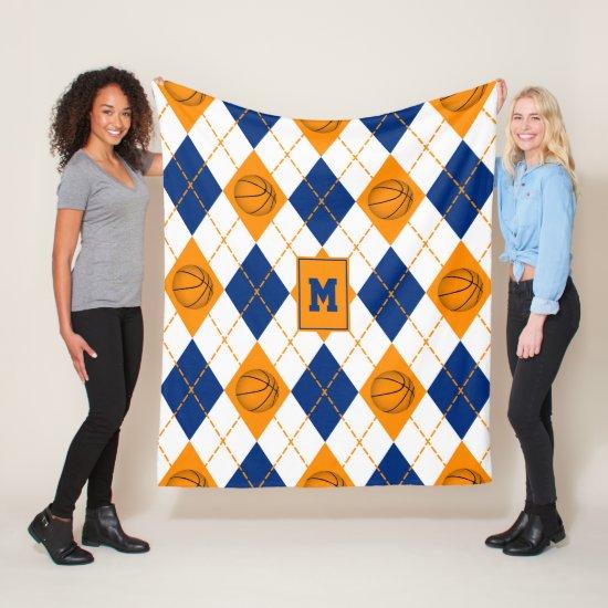 blue orange basketball team colors argyle fleece blanket