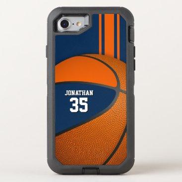 blue orange basketball varsity team colors boys OtterBox defender iPhone 8/7 case