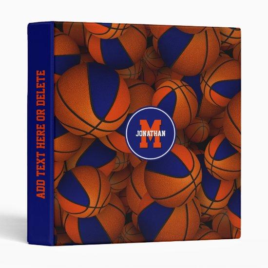 blue orange basketballs kids back to school 3 ring binder