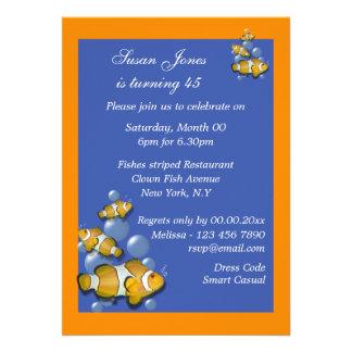 Blue orange beach birthday PERSONALIZE Cards
