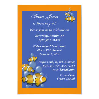 "Blue orange beach birthday PERSONALIZE 5"" X 7"" Invitation Card"