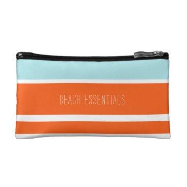 Blue & Orange Beach Essentials Pouch Makeup Bag