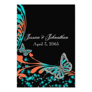 Blue orange black butterfly sparkle 3.5x5 paper invitation card