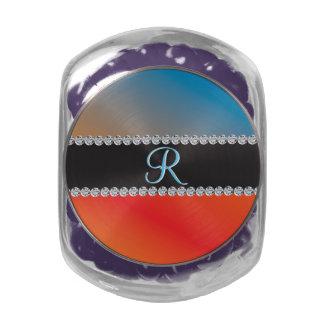 Blue Orange Black Diamond 3d Monogram Initial Glass Jar