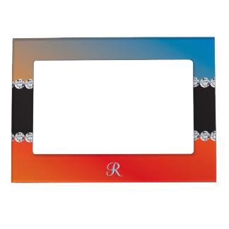 Blue Orange Black Diamond 3d Monogram Initial Magnetic Photo Frame