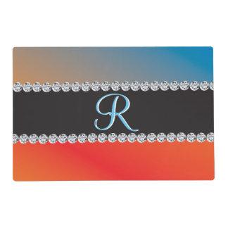 Blue Orange Black Diamond 3d Monogram Initial Laminated Place Mat