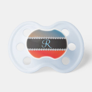 Blue Orange Black Diamond 3d Monogram Initial Pacifier