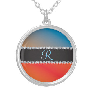 Blue Orange Black Diamond 3d Monogram Initial Silver Plated Necklace