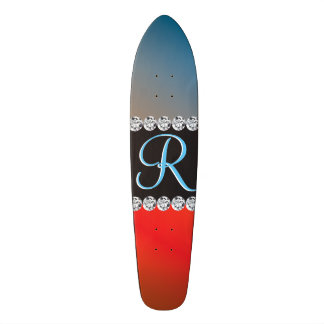 Blue Orange Black Diamond 3d Monogram Initial Skateboard