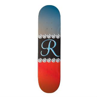 Blue Orange Black Diamond 3d Monogram Initial Skate Board Deck