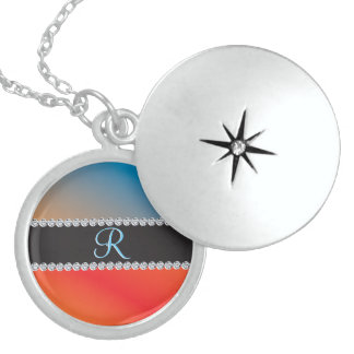 Blue Orange Black Diamond 3d Monogram Initial Sterling Silver Necklace