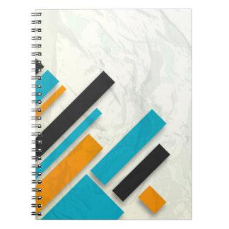 Blue Orange Black Modern Design Spiral Notebooks