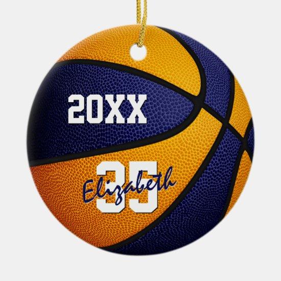 blue orange boys girls keepsake basketball ceramic ornament