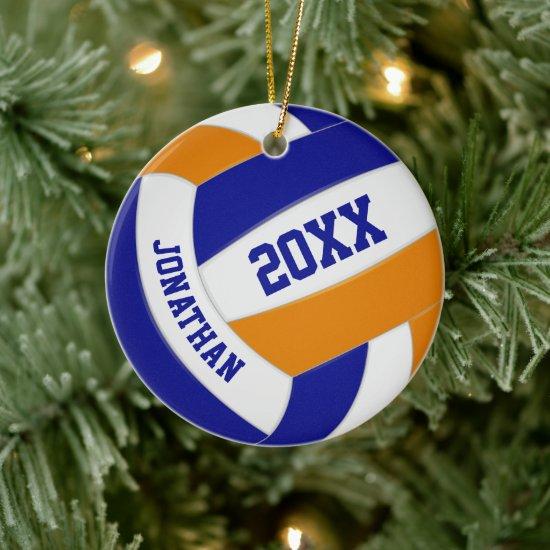 blue orange boys girls volleyball team colors ceramic ornament