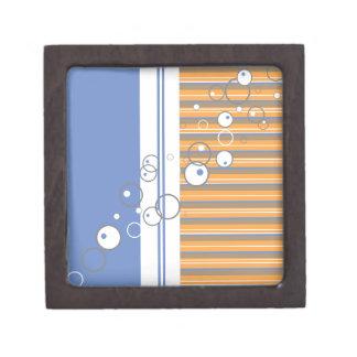 Blue Orange Bubble Strip Backgound Premium Keepsake Box