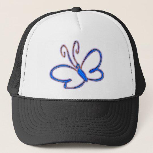 BLUE & ORANGE BUTTERFLY TRUCKER HAT