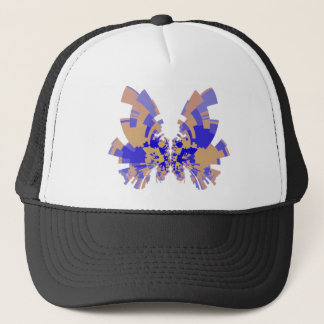 blue-orange butterfly trucker hat