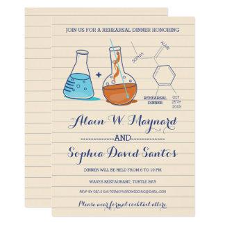 Blue & Orange Chemistry Rehearsal Dinner Invites