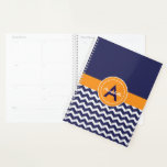 "Blue Orange Chevron Planner<br><div class=""desc"">Blue orange chevron day planner</div>"
