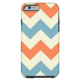 Blue Orange Chevron Stripes iPhone 6 Case