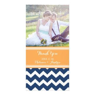 Blue Orange Chevron Thank You Wedding Photo Cards