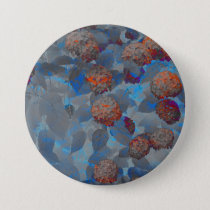 Blue orange color flower pattern digital art button