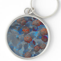 Blue orange color flower pattern digital art keychain