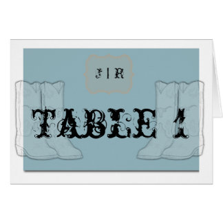 Blue Orange Cowboy Boots Table Number Cards