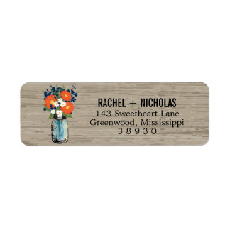 Blue Orange Daisies Mason Jar  | Return Address Label