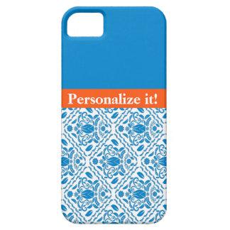 Blue/Orange Damask Pattern Monogram iPhone 5 cas iPhone 5 Covers