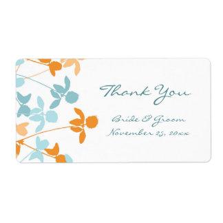 Blue Orange Floral Swirls Wedding Labels