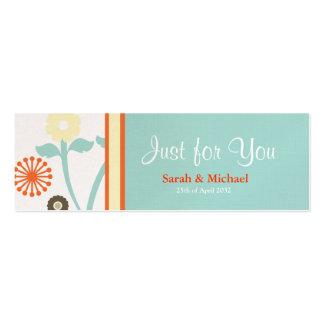 Blue & Orange floral Wedding favor Gift tag 2 Mini Business Card