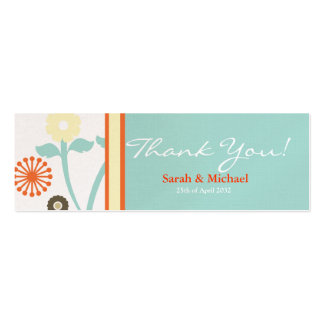 Blue & Orange floral Wedding favor Gift tag Mini Business Card